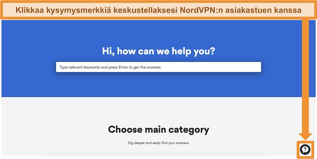 Näyttökuva NordVPN: n ohjesivusta, jonka alaosassa on tukipainike