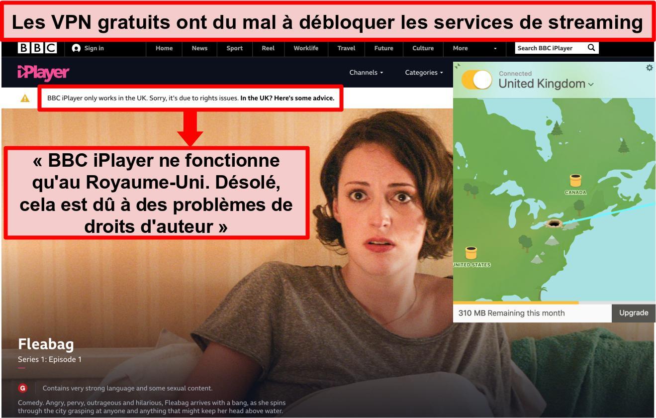 Capture d'écran de TunnelBear connecté à un serveur britannique et incapable d'accéder à BBC iPlayer