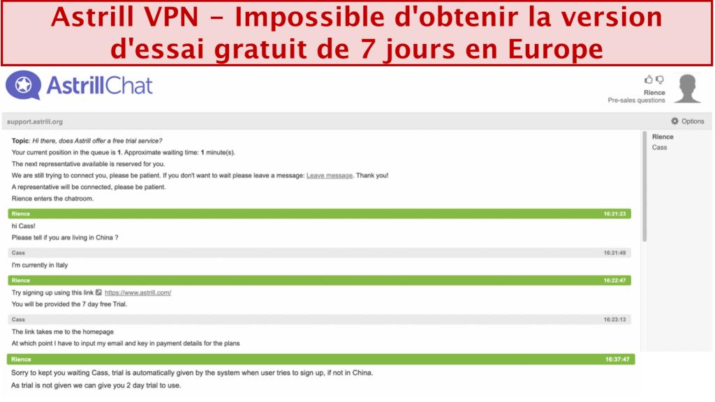 capture d'écran de la conversation avec l'équipe d'assistance d'Astrill VPN où l'essai gratuit de 7 jours n'est pas donné même si l'utilisateur est basé en Europe