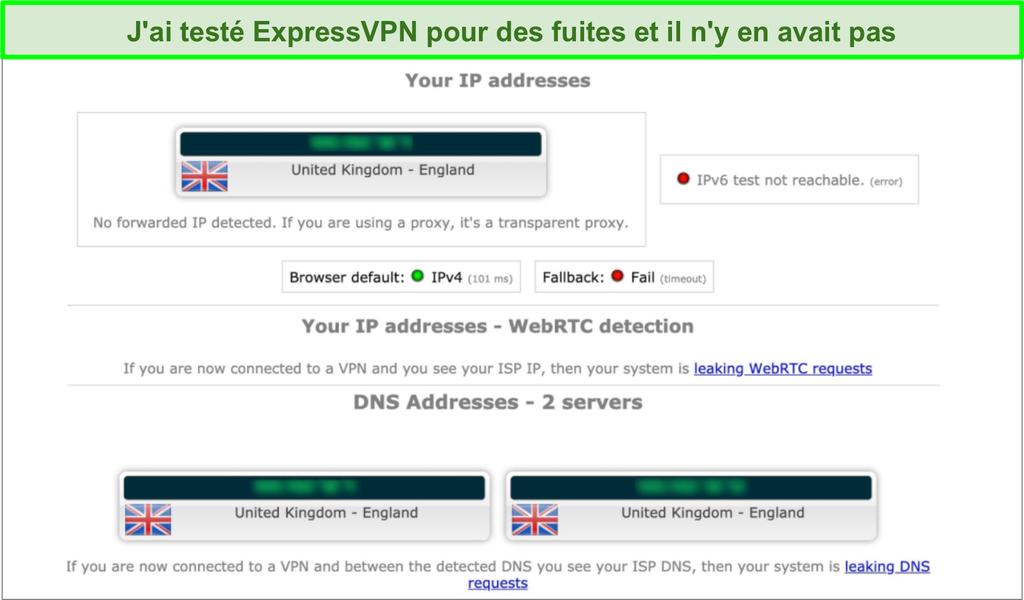 Capture d'écran des résultats du test de fuite d'ExpressVPN lorsqu'il est connecté à un serveur au Royaume-Uni