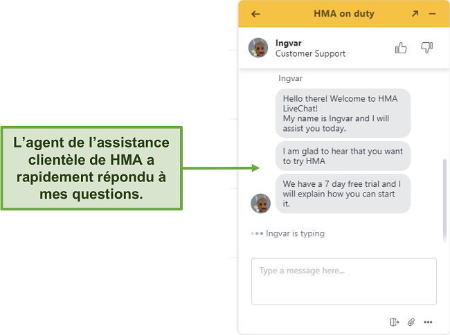 Capture d'écran du chat en direct du support client de HMA