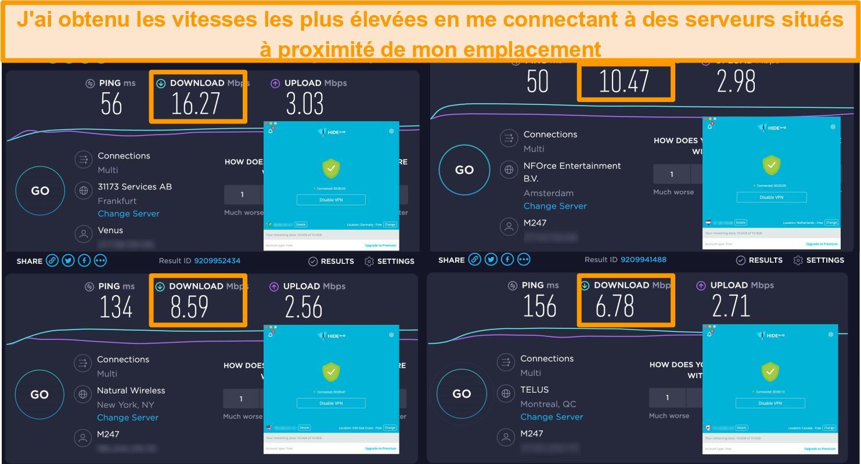 Capture d'écran du VPN Hide.me connecté à des serveurs en Allemagne, aux Pays-Bas, aux États-Unis et au Canada et résultats des tests de vitesse