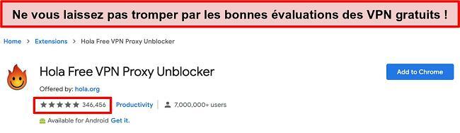 Capture d'écran de Hola Free VPN Proxy Unblocker sur la boutique d'extensions Google Chrome