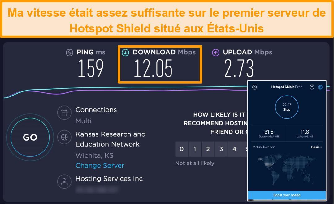 Capture d'écran de la version gratuite de Hotspot Shield sur Mac connectée à un serveur américain avec les résultats des tests de vitesse