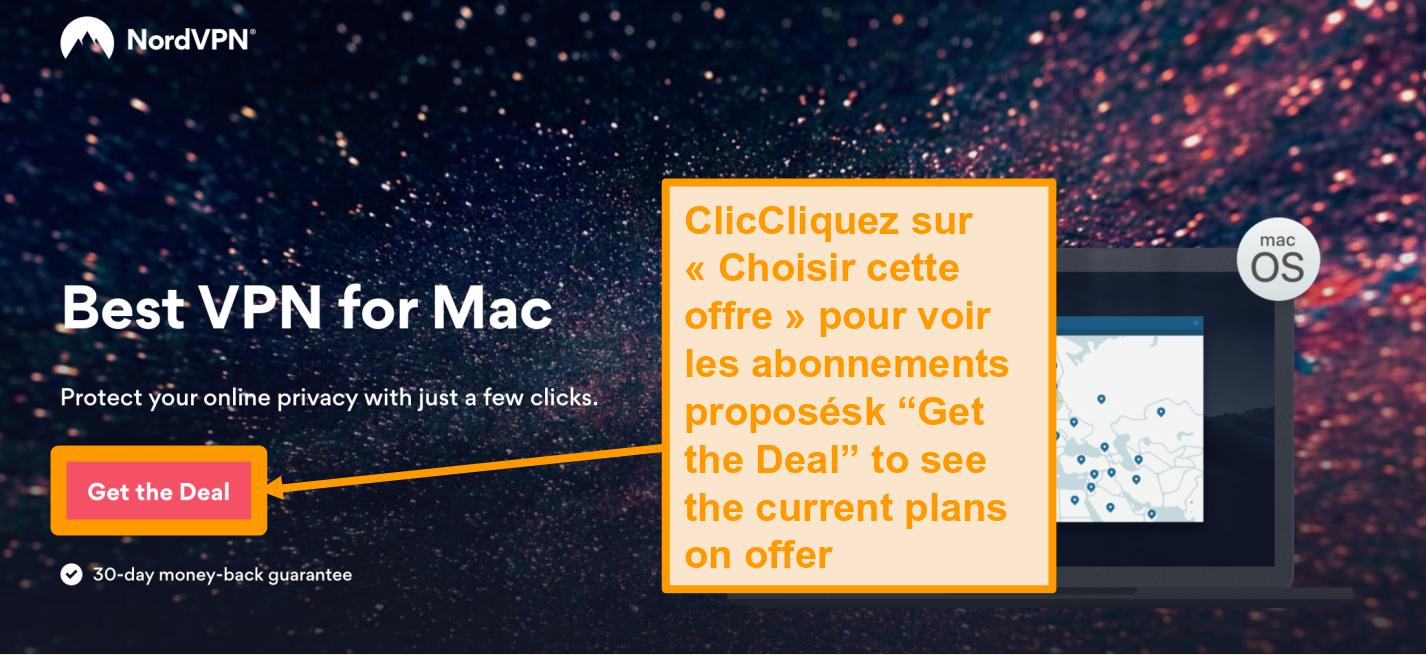 Capture d'écran de la page des offres de NordVPN pour les utilisateurs Mac