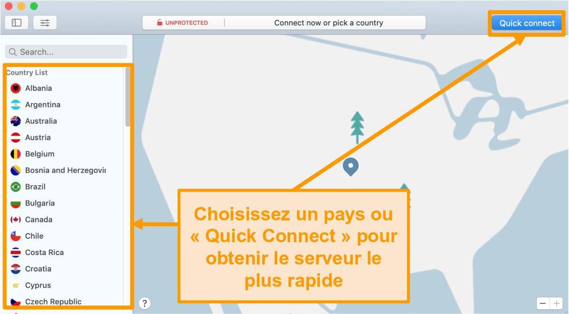 Capture d'écran de l'application NordVPN sur Mac avec connexion rapide et options de liste de serveurs