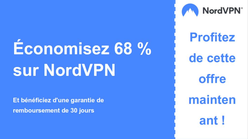 Image graphique du dossier de coupons NordVPN montrant une réduction de 68%