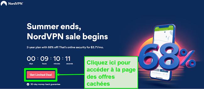 Capture d'écran de la page des offres cachées de NordVPN