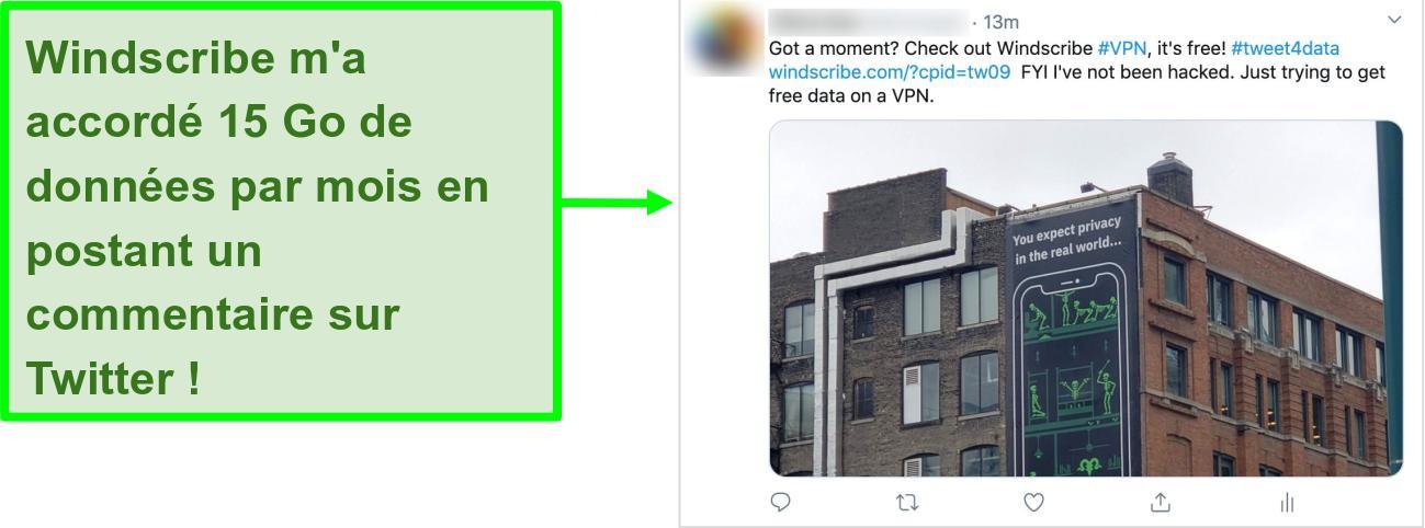 Capture d'écran d'une publication Twitter faisant la promotion de Windscribe VPN en échange de 15 Go de données gratuites chaque mois
