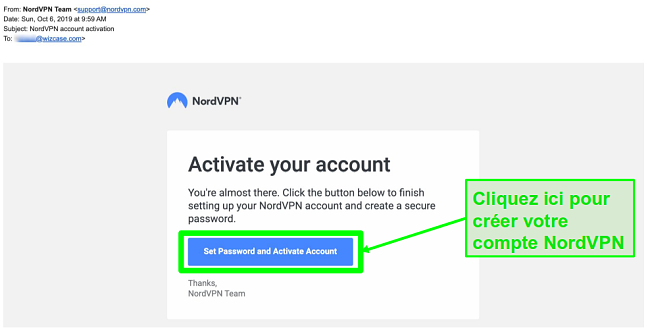 Capture d'écran de l'e-mail d'activation du compte NordVPN