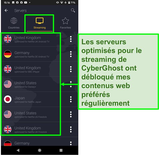 Capture d'écran des serveurs optimisés pour le streaming de CyberGhost
