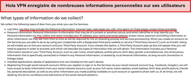 Capture d'écran de la politique de confidentialité de Hola VPN montrant qu'elle enregistre l'adresse IP