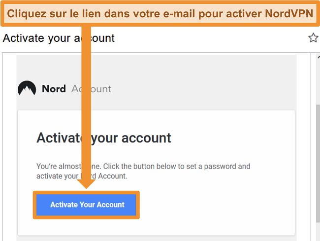 Capture d'écran de l'option d'activation du compte NordVPN par e-mail