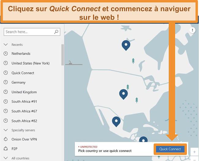 Capture d'écran de l'écran d'accueil de NordVPN