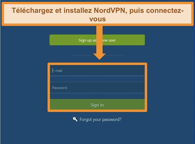 Capture d'écran de l'écran de connexion sur l'application Windows NordVPN