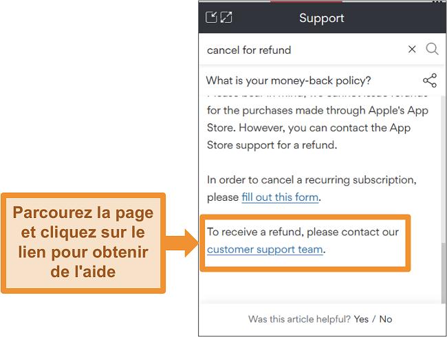 Capture d'écran du bot de discussion NordVPN répondant à une question de remboursement