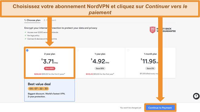 Capture d'écran de la page de sélection des plans sur le site Web de NordVPN