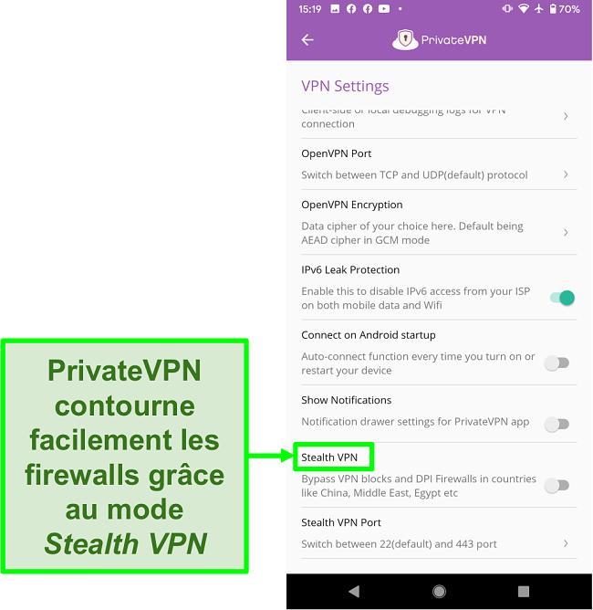 Capture d'écran de l'application Android PrivateVPN montrant la fonction Stealth VPN qui aide à contourner les blocages VPN