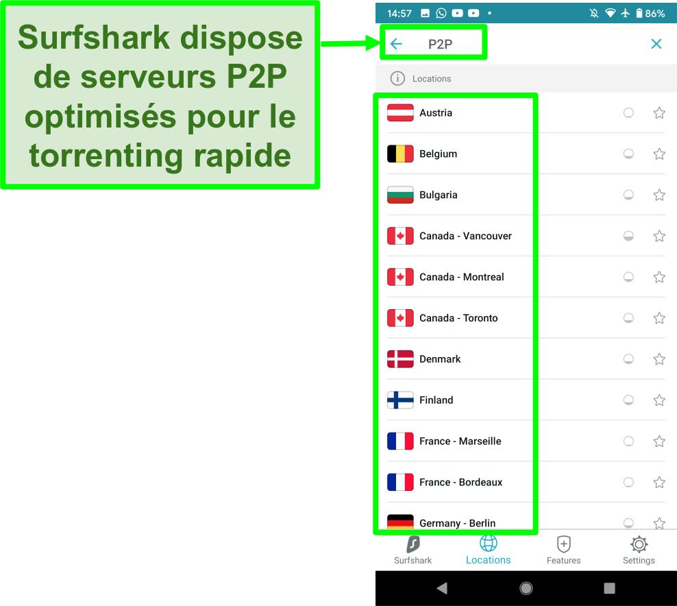 Capture d'écran de l'application Android VPN Surfshark montrant des serveurs optimisés P2P pour un torrenting rapide