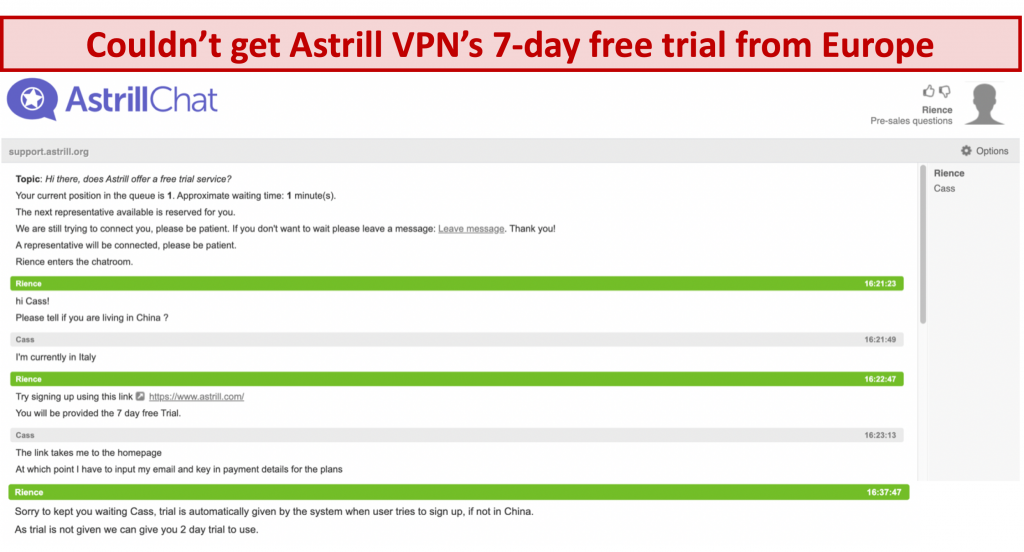 screenshot of conversation with Astrill VPN support team where 7-day free trial is not given even if user is based in europe