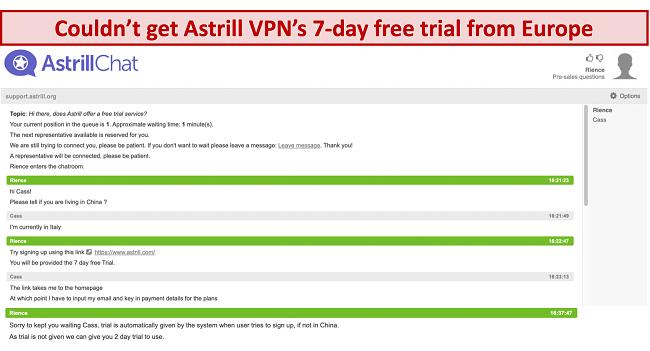 képernyőkép az Astrill VPN támogató csapattal folytatott beszélgetésről, ahol a 7 napos ingyenes próbaidőszak akkor sem biztosított, ha a felhasználó Európában van