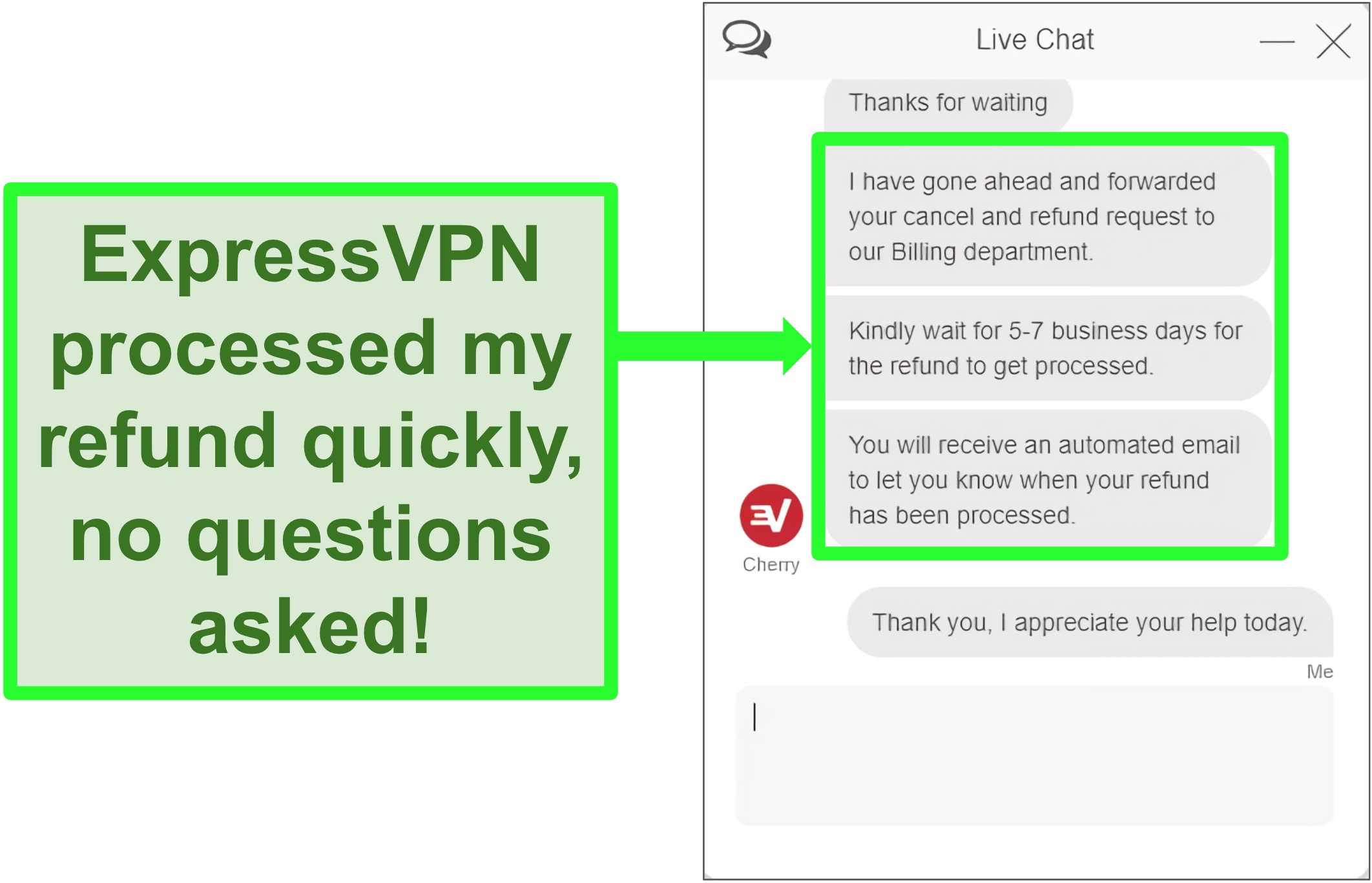 Screenshot of ExpressVPN live chat refund being processed