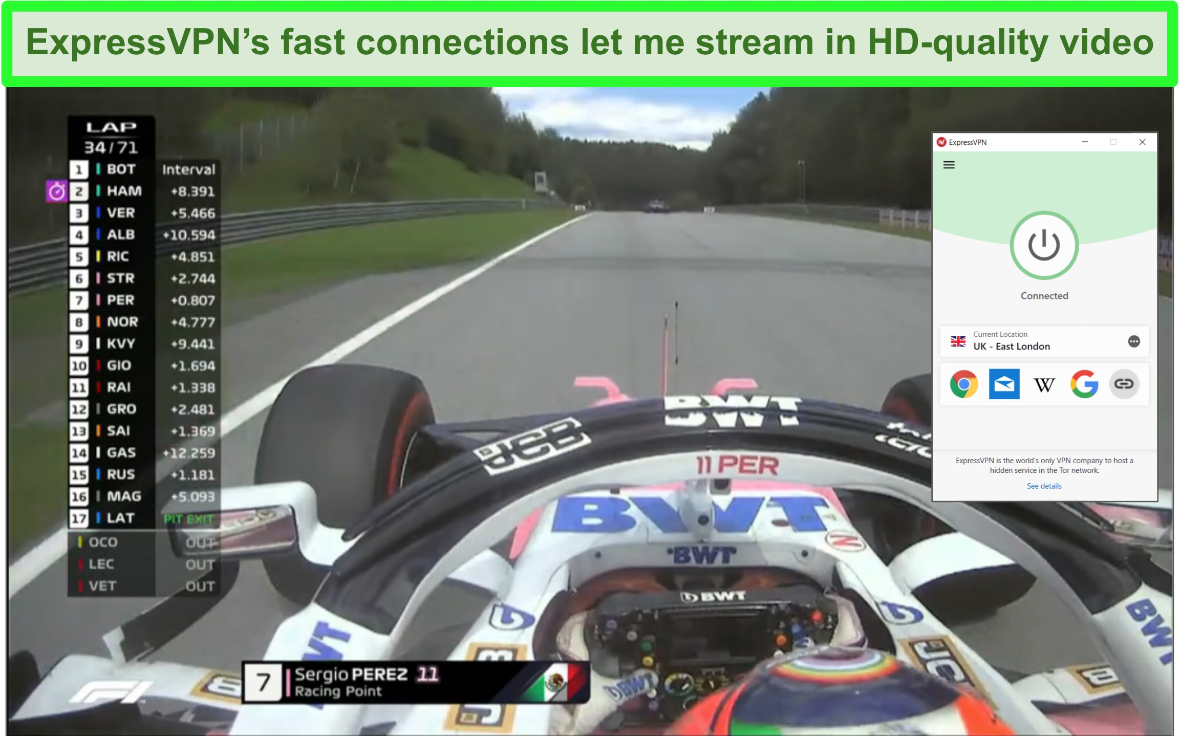 Screenshot of F1 race streaming with ExpressVPN connected to UK server.