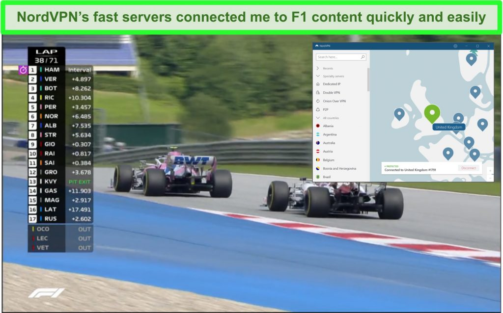 Screenshot of F1 race streaming with NordVPN connected to a UK server.