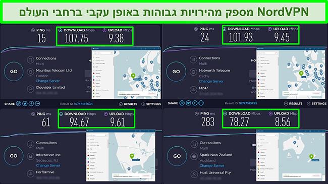 צילומי מסך של מבחני מהירות עם NordVPN המחוברים לשרתים גלובליים שונים