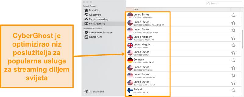 Snimka zaslona aplikacije CyberGhost za Mac koja prikazuje optimizirane poslužitelje za streaming