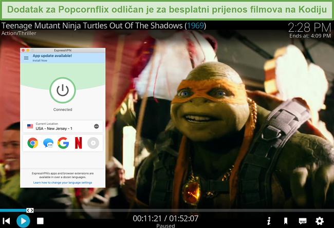 Snimka zaslona TMNT-a koji se reproducira putem Popcornflixa na Kodi