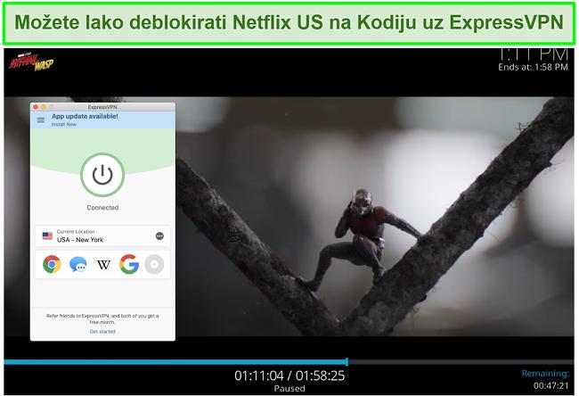 snimka zaslona Ant man vs Wasp na Netflix US through Kodi