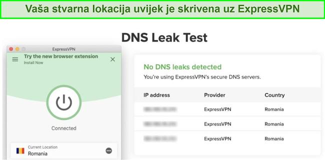 snimka zaslona uspješnog testa curenja DNS-a pomoću ExpressVPN-a za Kodi