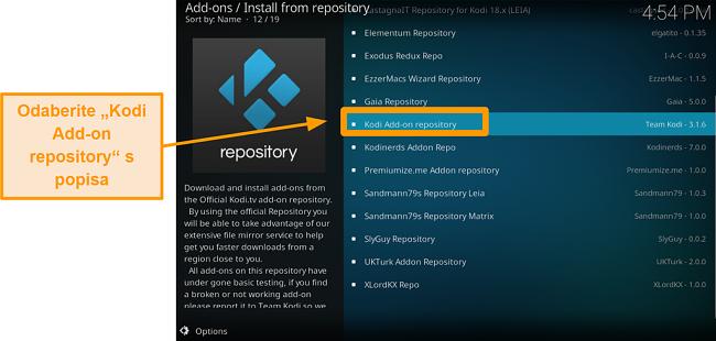 snimak zaslona kako instalirati službeni kodi addon korak pet kliknite Kodi add na spremište s popisa