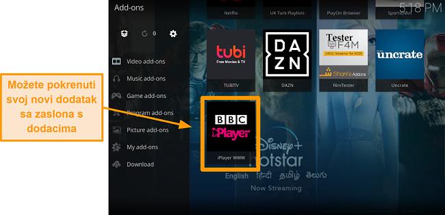 snimka zaslona kako instalirati službeni kodi addon korak jedanaesti lansiranje novog adona sa početne stranice