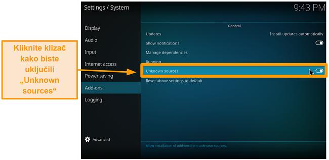 snimka zaslona kako instalirati kodi addon treće strane korak 4 uključivanje nepoznatih izvora