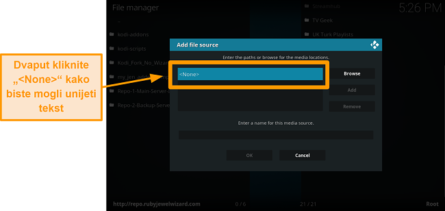 snimka zaslona kako instalirati kodi addon treće strane korak 7 dvaput kliknite nijedan