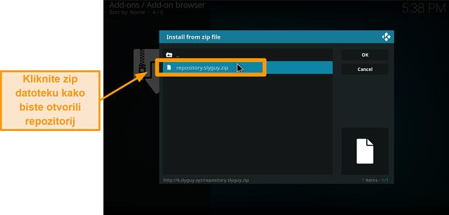 snimka zaslona kako instalirati kodi addon treće strane korak 16 kliknite zip datoteku da biste otvorili repo