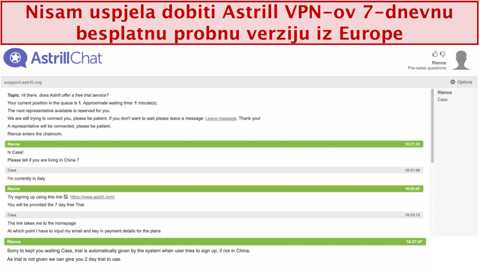 snimka zaslona razgovora s timom za podršku Astrill VPN-a u kojem se ne daje 7-dnevno besplatno probno razdoblje čak i ako je korisnik sa sjedištem u Europi