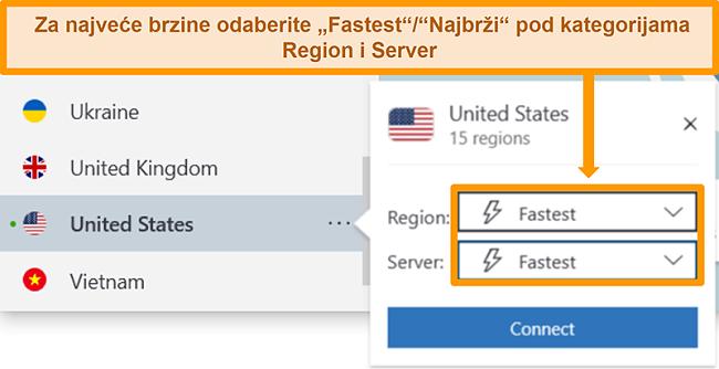 Snimka zaslona NordVPN-ovih opcija poslužitelja za SAD koja prikazuje najbržu regiju i poslužitelj