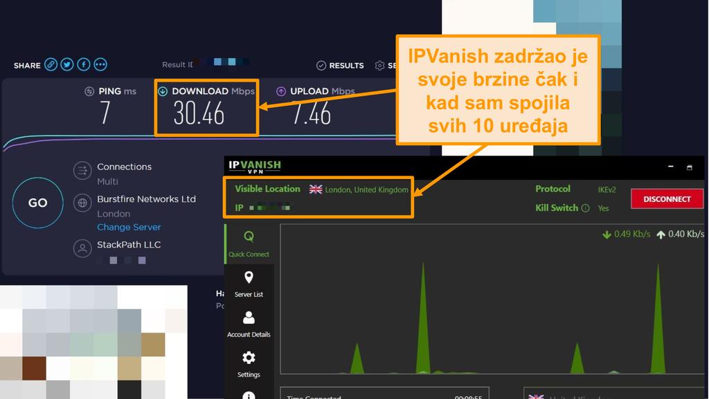 Snimka zaslona testa brzine s IPVanish vezom