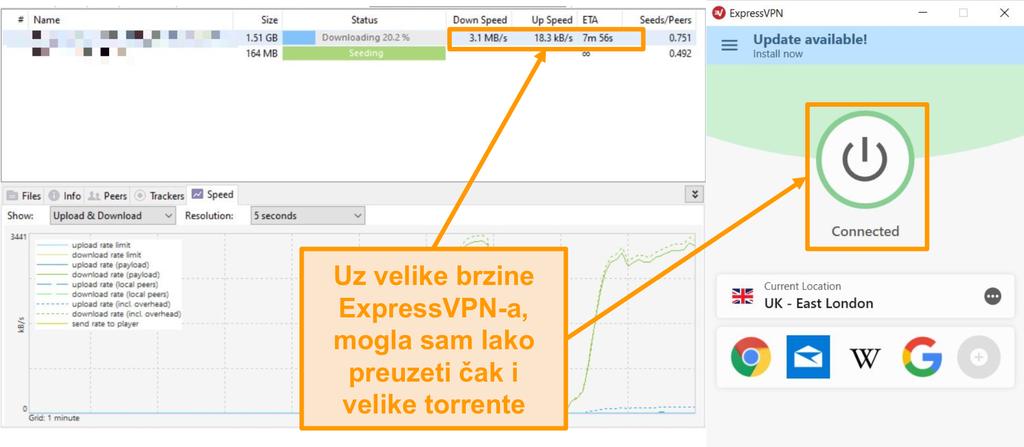 Snimka zaslona preuzimanja datoteka bujice s postavljenom ExpressVPN vezom