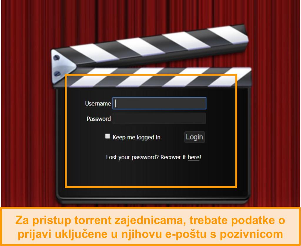 Snimka zaslona stranice za prijavu PassThePopcorn