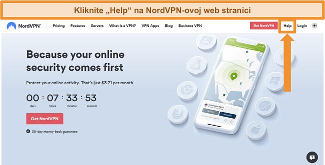 Snimka zaslona opcije pomoći NordVPN-a na njegovoj početnoj stranici