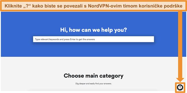 Snimka zaslona stranice pomoći NordVPN-a s gumbom za podršku na dnu