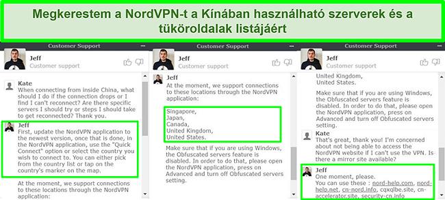Pillanatképek a NordVPN élő csevegéséről, amelyek szerverekre és tükrös webhelyekre utalnak, amelyek hasznosak a Kínából történő összeköttetéshez