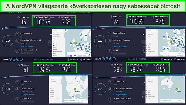Pillanatképek a különböző globális szerverekhez kapcsolt NordVPN sebességmérési tesztekről