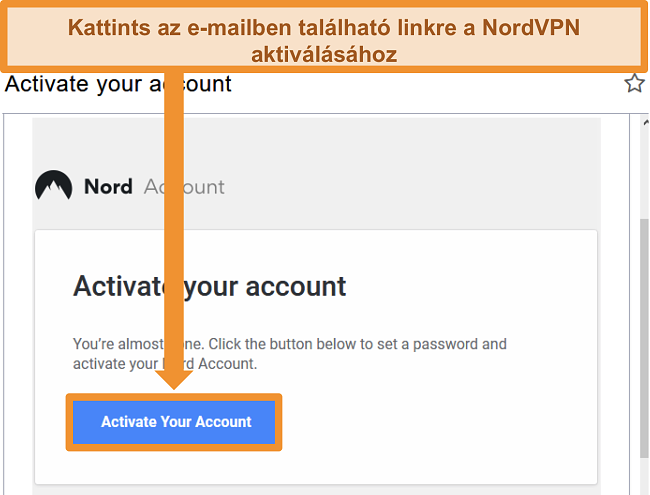 Pillanatkép az aktív NordVPN-fiók lehetőségéről e-mailben