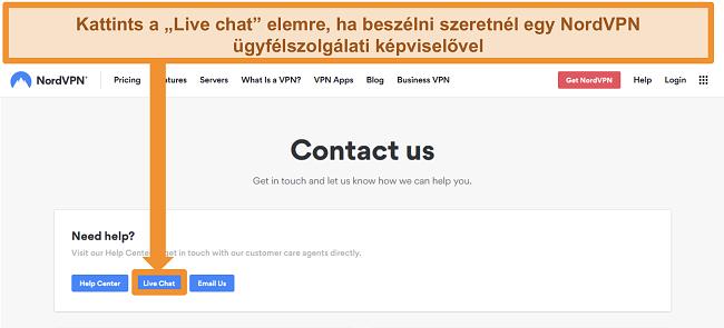 Pillanatkép a NordVPN Kapcsolat oldalról, amelyen látható az Élő csevegés gomb