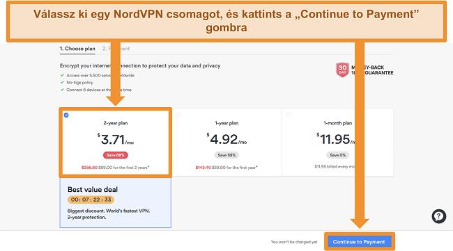 Képernyőkép a NordVPN honlapján található tervválasztási oldalról